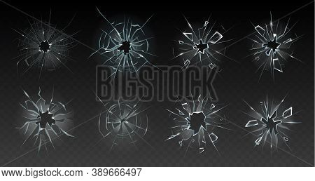 Realistic Cracked Glass. Broken Smashed, Damaged Texture, Crash Destruction Ice, Clear Glass Surface