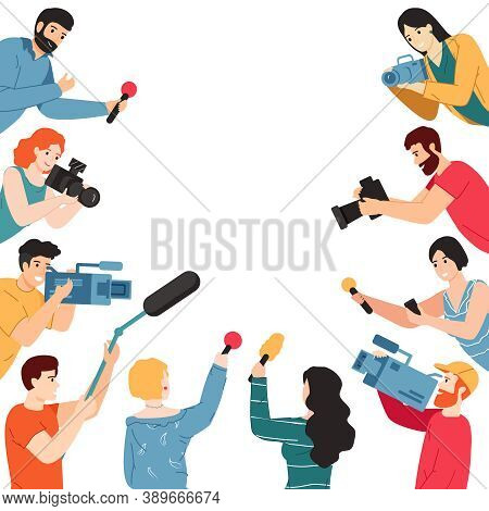 Press Conference. Journalist Characters With Microphone, Camera And Voice Recorders, Mass Media Inte