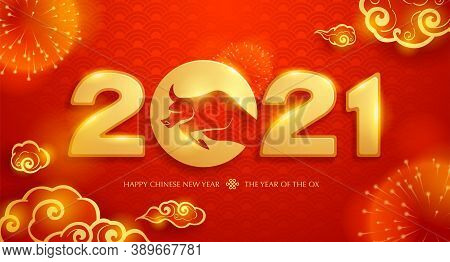 Happy Chinese New Year 2021 Celebration Design. Year Of The Ox. Chinese Zodiac (ox) - The Symbol Of