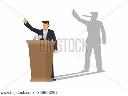 Politician On A Podium Giving Speech With His Long Nose Shadow. Concept Of Liar. Vector Illustration