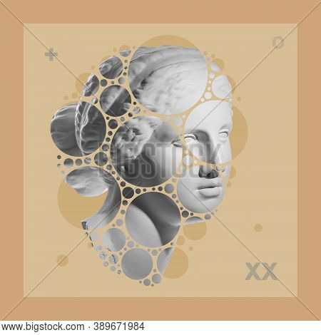 Art Collage With Antique Sculpture Of Venus Face And Numbers, Geometric Shapes. Beauty, Fashion And