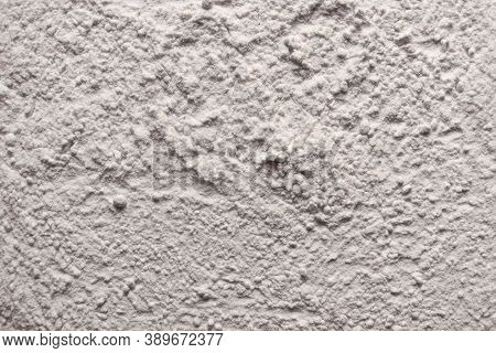 Texture Of White Fine Flour Powder With Small Ball Lumps. Can Be Seen As Corn Starch, Cocaine, Powde