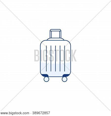 Blue Travel Plastic Suitcase Thin Line Icon With Wheels Handle Isolated On White Background. Outline