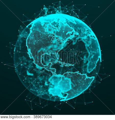 World Wide Web. Global Network Connection. Planet Earth. World Map. 3d Rendering.