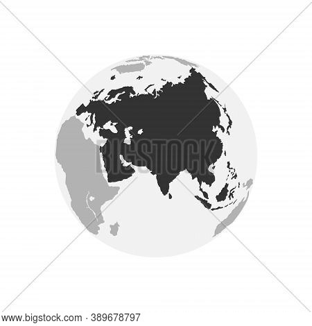 Eurasia Continent Map. Earth Globe. World Map In Circle. Globes Web Icon. Vector Illustration