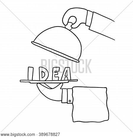 Male Hands Show An Idea On A Platter, Vector Illustration. Concept Of Visualization Of Connections A