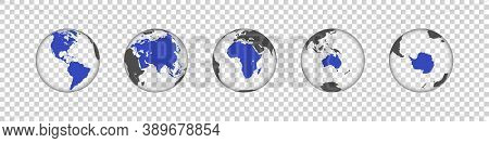 Earth Map. Continents Of Earth. Earth Globe. World Map In Circle. Globes Web Icon. Transparent Globe