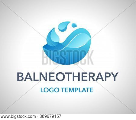 Balneotherapy Logo Template - Method Alternative Medicine For Treating Diseases By Bathing, Spa, Mas