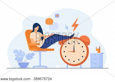 Lazy Woman Sitting In Office And Procrastinating Flat Vector Illustration. Cartoon Person Wasting Ti