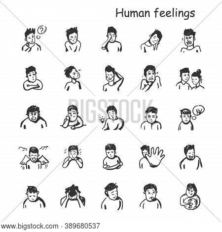 Human Feelings Line Icons Set. Outline Sketches Drawing. Human Emotions And Feelings Concepts. Happi