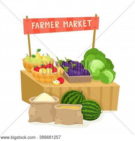 Vegetable Fruit Local Farmer Market In Cartoon Style