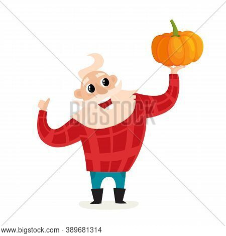 Cartoon Old Man Farmer With Pumpkin Isolated On White.