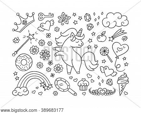 Cute Unicorn And Set Of Magic Objects. Shooting Star, Rainbow, Tiara And Magic Wand In Doodle Style.