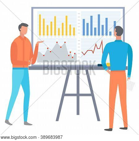 People Analysing Data And Whiteboard. Businessman Looking At Board With Charts And Info In Visual Fo