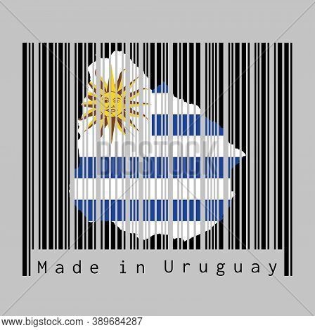 Barcode Set The Shape To Uruguay Map Outline And The Color Of Uruguay Flag On Black Barcode With Gre