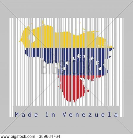 Barcode Set The Shape To Venezuela Map Outline And The Color Of Venezuela Flag On White Barcode With