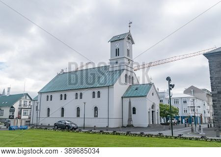 Reykjavik, Iceland - June 20, 2020: Reykjavik Cathedral, Cathedral Church, Seat Of The Bishop Of Ice