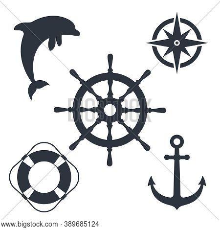 Marine Travel Topic Graphic Set Symbols. Nautical Signs Isolated On White Background. Vector Illustr