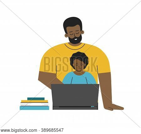 Vector Isolated Flat Illustration. African American Father And Baby Girl Are Sitting With Laptop. On