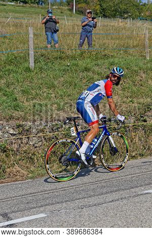 Revel, France, September 15, 2020 : French Racer Jerome Cousin In Difficulty On A Climb Of Tour De F