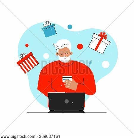 Vector Isolated Concept With Caucasian Senior Man. Online Shopping With Big Sales Before Christmas T