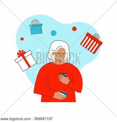 Vector Flat Concept With Caucasian Elderly Woman. Blonde Woman Enters Bank Card Details To Orders Gi