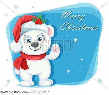 Cute Polar Bear Cartoon Character. Merry Christmas And Happy New Year Greeting Card. Vector Illustra