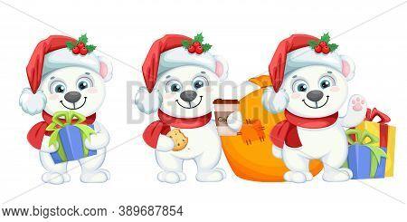 Cute Polar Bear Cartoon Character, Set Of Three Poses. Merry Christmas And Happy New Year. Vector Il