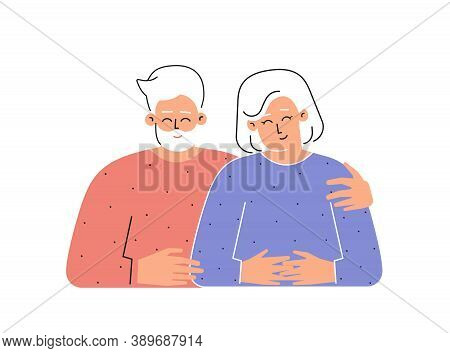 Vector Flat Isolated Concept With Cartoon Characters Of Caucasian Senior Couple. Happy Old Grandfath