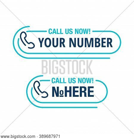 Call Us Button - Template For Phone Number Block In Website Header  - Conspicuous Sticker With Phone