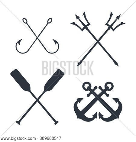 Maritime Symbols Graphic Set. Crossed Signs Of Nautical Topic Isolated On White Background. Vector I