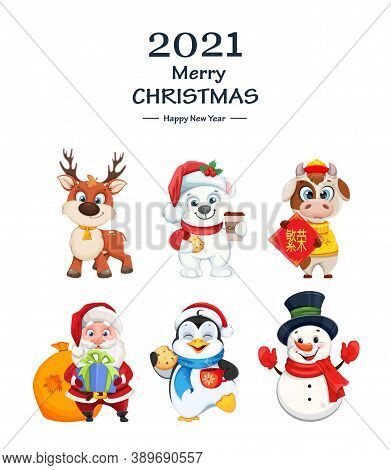 Merry Christmas And Happy New Year. Cute Cartoon Characters For Holidays. Polar Bear, Snowman, Bull,