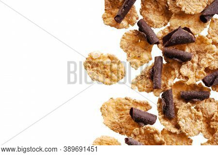 Organic Homemade Granola Cereal With Chocolate. Texture Oatmeal Granola Or Muesli As Background. Foo