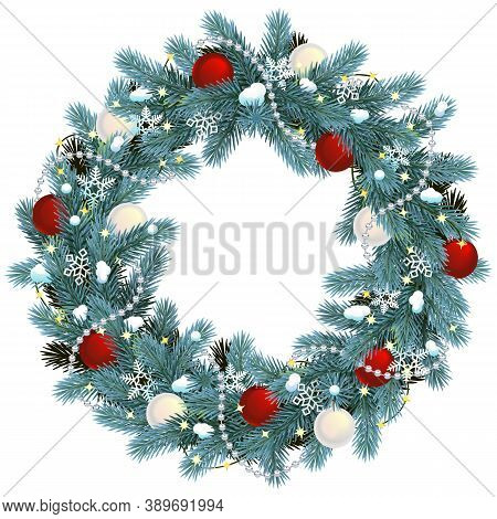 Vector Christmas Blue Fir Wreath Isolated On White Background