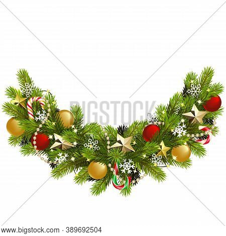 Vector Fir Christmas Decoration Isolated On White Background