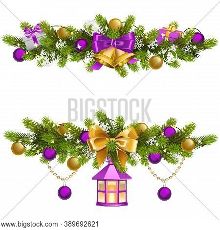 Vector Fir Decoration With Purple Decorations Isolated On White Background