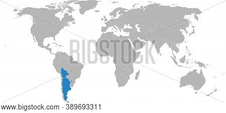Bolivia, Argentina Countries Isolated On World Map. Business Concepts And Geographical Map Backgroun