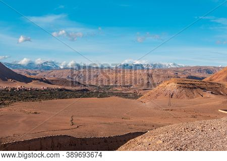 View Of The Valley From The Ait Benhaddou, A Historic Ighrem Or Ksar (fortified Village) Along The F