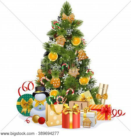 Vector Christmas Pine Tree With Sweet Decorations Isolated On White Background