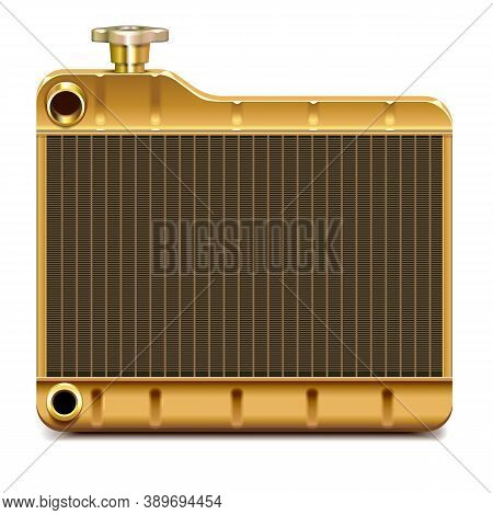Vector Brass Car Radiator Icon Isolated On White Background