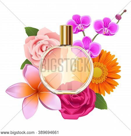 Vector Perfume With Flowers Isolated On White Background