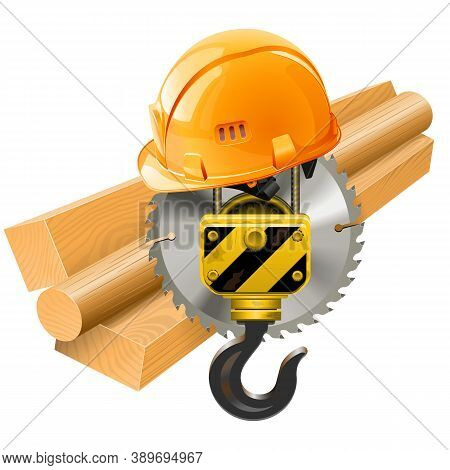 Vector Wood Shipment Concept With Crane Hook Isolated On White Background