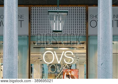 Ovs Logo And Showcase Of The Store. Ovs Is Largest Clothing Retailer In Italy, Spread All Over The W
