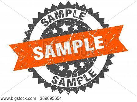 Sample Grunge Stamp With Orange Band. Sample