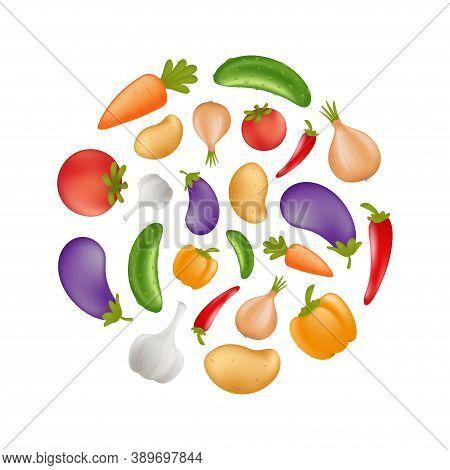 Vegetables Icon Set In A Round Shape - Potato, Carrot, Cucumber, Onion, Pepper, Tomato, Aubergine, E