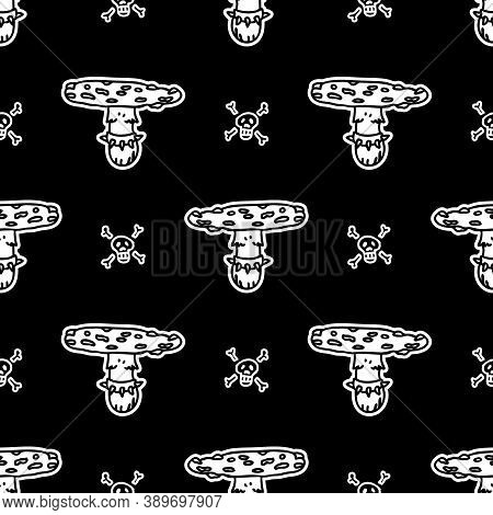 Cute Punk Fly Agaric Fungi Monochrome Lineart Vector Pattern. Grungy Alternative Home Decor With Car