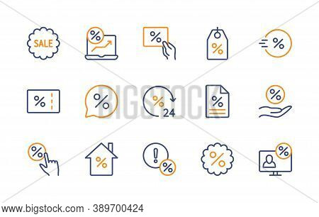 Percentage Discount, Vector Color Linear Icons Set In Minimal Style. Sale Management. Coupon, Percen