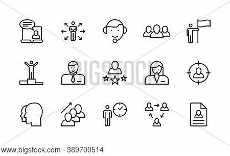 Work And Success, Business People, Vector Linear Icons Set. Business Management. Interaction, Trust