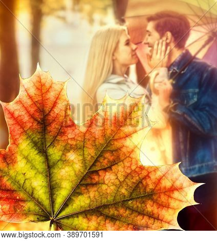 Beautiful couple kissing under tree in autumn park. Young man and woman kissing park autumn. Conceptual fall fashion dream in fall season.