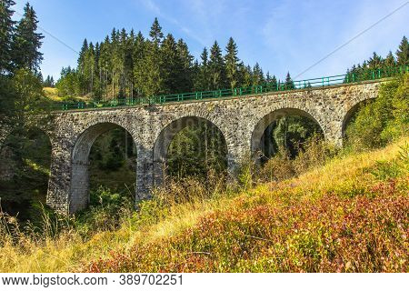 View Of Stone Railway Viaduct In A Small Village Of Pernink, Czech Republic. Old Czech Railway Line.